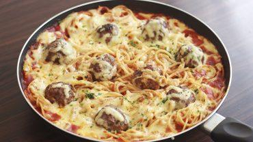 Pasta gratinada con albondigas - Portada